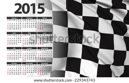Race flag - Calendar 2015 - stock photo