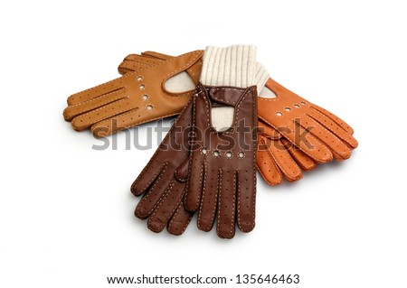 race leather gloves isolated on white - stock photo
