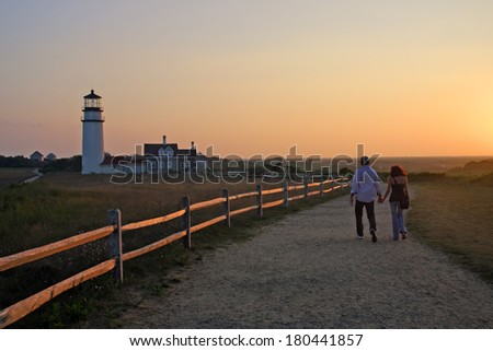 Race Point Light is a historic lighthouse on Cape Cod, Massachusetts  - stock photo