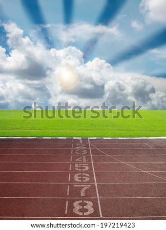 Race track for sport with blue sky and cloud - stock photo