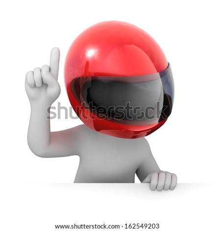 racer with a red racing helmet. image with a work path - stock photo