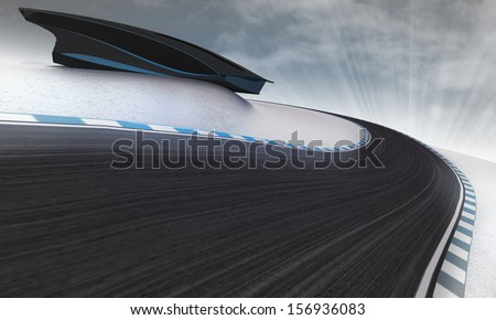 racetrack leading outdoors around modern building with sky illustration - stock photo