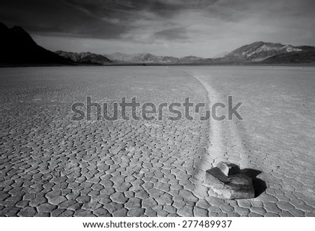 Racetrack Playa in Death Valley National Park. USA. Black and White photo - stock photo