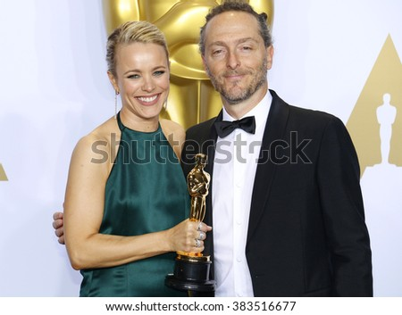 Rachel McAdams and Emmanuel Lubezki at the 88th Annual Academy Awards - Press Room held at the Loews Hollywood Hotel in Hollywood, USA on February 28, 2016. - stock photo
