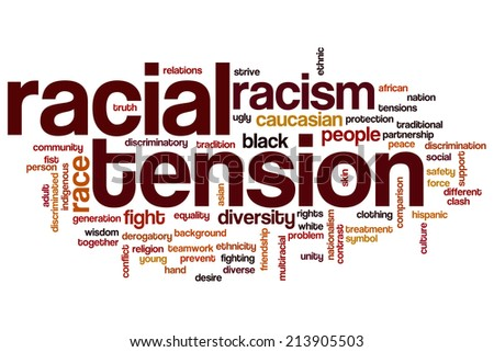 Racial tension concept word cloud background - stock photo