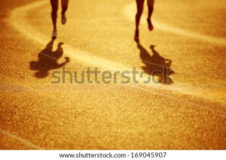 Racing around the curve - stock photo