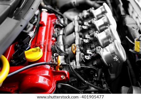 Racing car engine block with custom air duct - stock photo