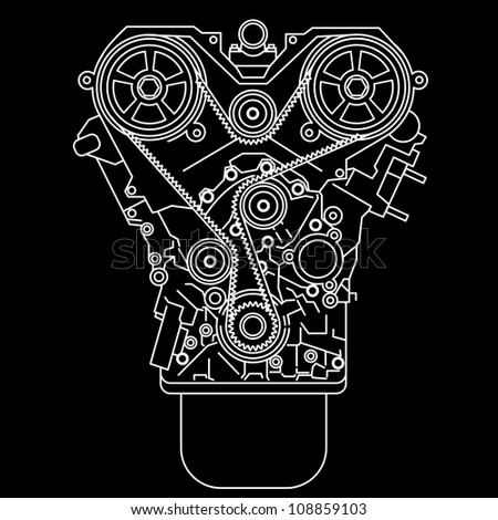 racing engine, front view.  illustration. - stock photo