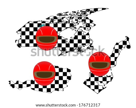 Racing Flag Maps 4 Canada Austria Monaco - stock photo