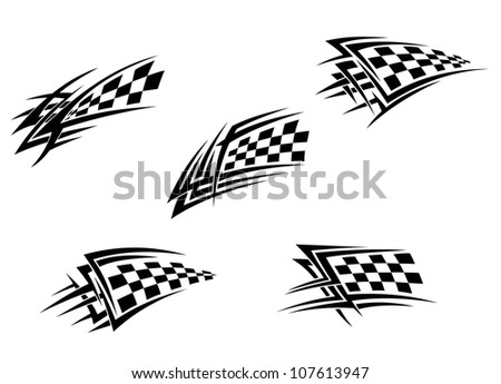 Racing flags in tribal style for tattoo design, such a logo. Vector version also available in gallery - stock photo