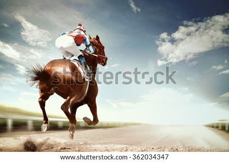 racing horse coming first to finish line in vintage style - stock photo