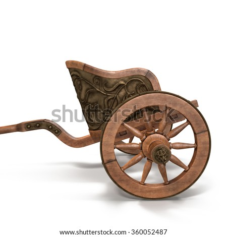 Racing Roman Chariot on White Background - stock photo
