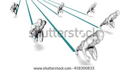 Racing to Success in a Deadline or High Pressure Environment 3D Illustration Render - stock photo