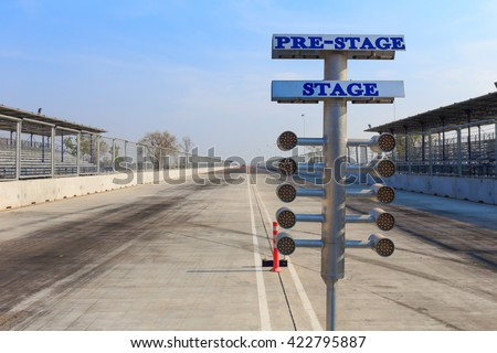Racing track and starting system used in drag racing - stock photo