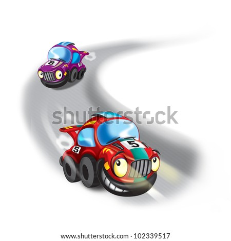racing with other cars - stock photo