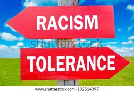 Racism and tolerance way choice showing strategy change or dilemmas - stock photo