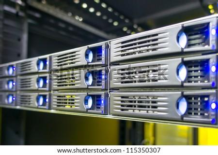 Rack mounted storage server hard drives - stock photo