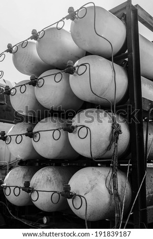 Rack of CNG/NGV gas containers for heavy truck on heavy truck . - stock photo