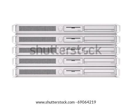 Rack servers. 3D rendering of 5 rack servers - stock photo