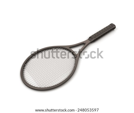 Racket tennis isolate on white background. 3d render image. - stock photo