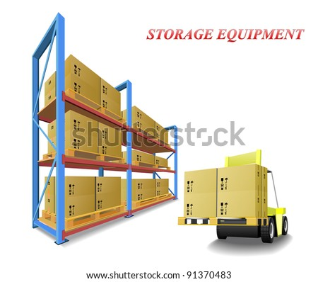 Racks, trays, boxes and forklifts in the warehouse are shown in the picture. - stock photo