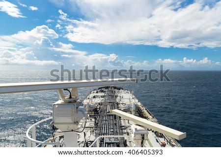 Radar aerials of the oil tanker - stock photo
