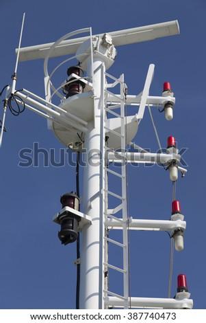 Radar device on board of a ship - stock photo