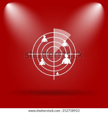 Radar icon. Flat icon on red background.  - stock photo