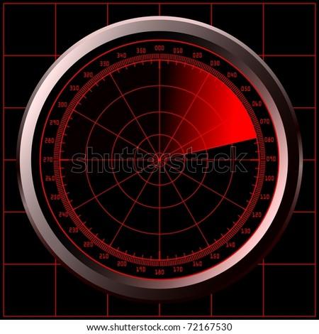 Radar screen (sonar). Raster version of the illustration. - stock photo