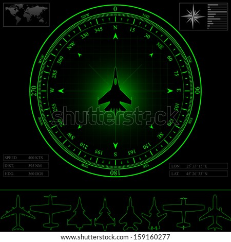 Radar screen with compass surrounding jet fighter. Commercial jets and piston planes optional, raster copy - stock photo