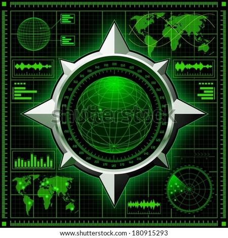 Radar screen with globe. Raster version of the illustration. - stock photo