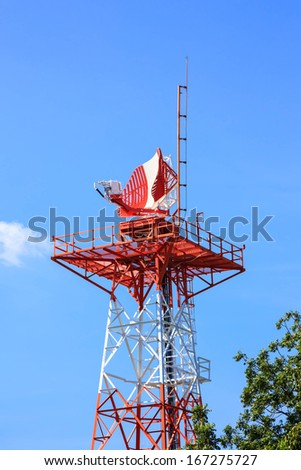 Radar tower in airport for air traffic control - stock photo