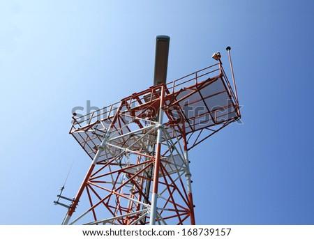 Radar tower plane  - stock photo