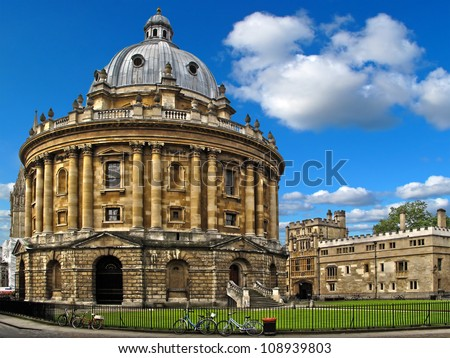 Radcliffe Camera a part of Bodleian Library, Oxford University. Oxford, United Kingdom. HDR photo. - stock photo