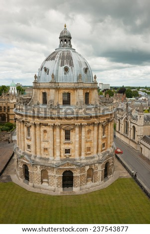 Radcliffe Camera in Oxford, England. A building that houses the Radcliffe Science Library - stock photo