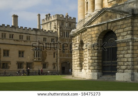 Radcliffe Camera (right) and Brasenose College, Oxford, UK - stock photo