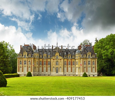 Radepont, France - the nineteen century castle in summer - stock photo
