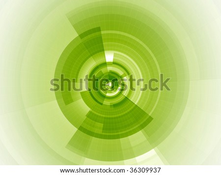 Radial digital composition with sliced transparent rings and wire mesh fading away from the core to infinity - stock photo