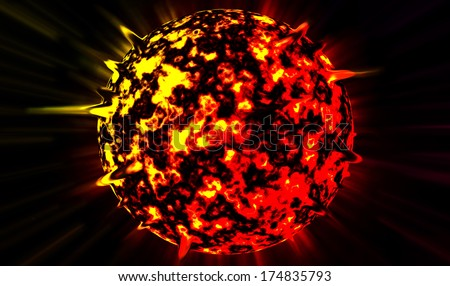 Radiant planet explodes in the star sky - stock photo