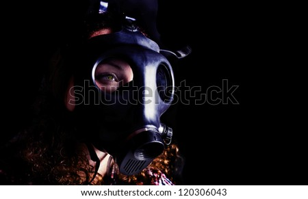 radiation mask on a black background terrible - stock photo