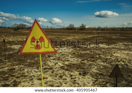 Radiation polution background. On the horizont you can see chernobyl nuclear plant - stock photo
