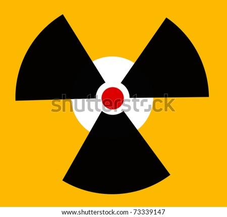 Radiation round sign on orange background - stock photo