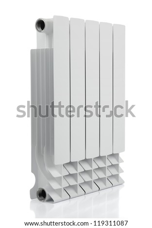 Radiator on white background. File contains a path to isolation. - stock photo