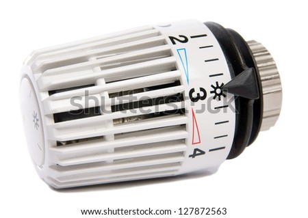 radiator thermostat isolated over a white background / radiator thermostat - stock photo