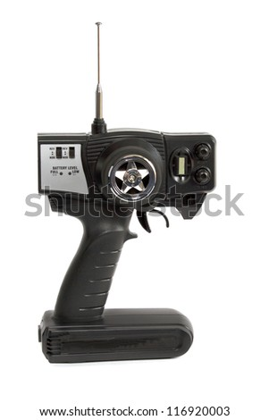 radio-control for toy car isolated on white - stock photo