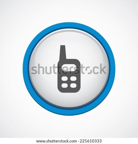 radio glossy with blue stroke icon, circle, isolated  - stock photo