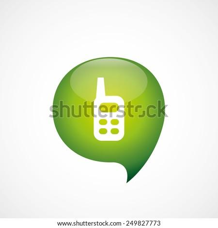 radio icon green think bubble symbol logo, isolated on white background  - stock photo