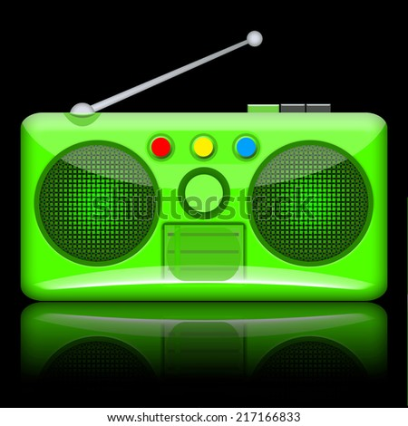 Radio isolated on black background - stock photo