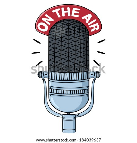 Radio Microphone Illustration; Old Radio Mic; on the air; Retro mic - stock photo