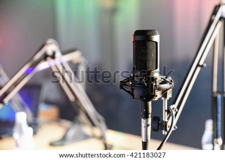 Radio microphone in the studio - stock photo